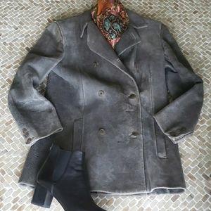 Calvin Klein collection gray lamb skin coat, sz S